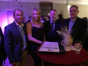 v. links: Udo Fonger (2. VS. KSV Germania Krefeld), Aline Focken, Jochen Adrian (stellvertr. Vorsitzender SSB Krefeld), Hans-Georg Focken (1. VS KSV Germania Krefeld)